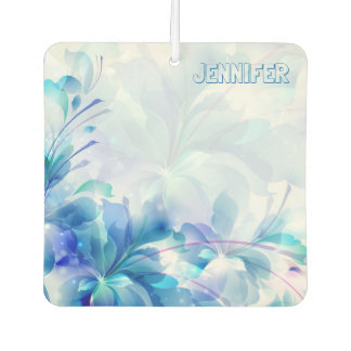 Purple And Blue Abstract Flowers Car Air Freshener
