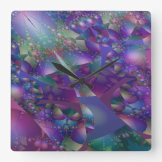 Purple and Blue Bubble Fractal Square Wall Clock