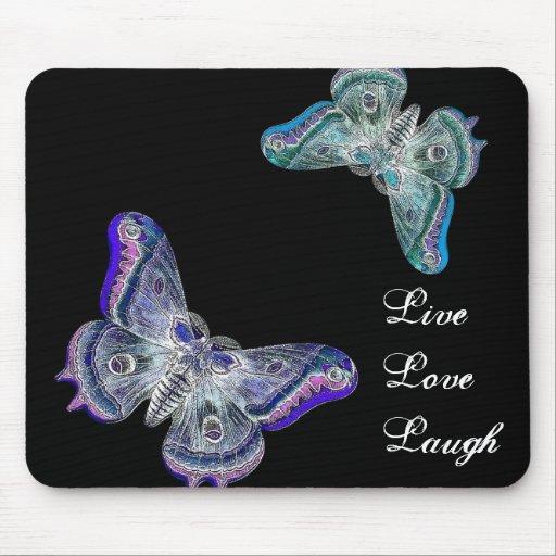 Purple and Blue Butterflies -  Live Love Laugh Mouse Pad