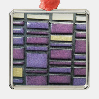Purple and Blue Ceramic Tile Remix Silver-Colored Square Decoration