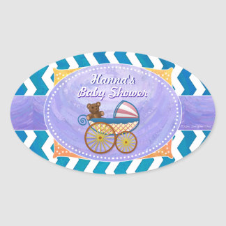 Purple and Blue Chevron Custom Baby Shower Oval Stickers