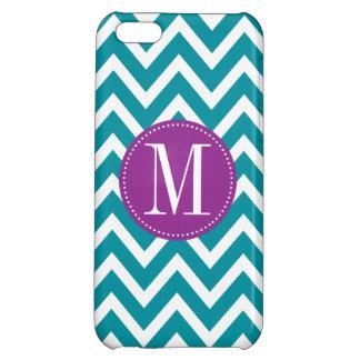 Purple and Blue Chevron Custom Monogram iPhone 5C Cover