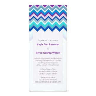 Purple and Blue Chevron Wedding Invitation