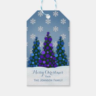 Purple And Blue Christmas Tree Gift Tags