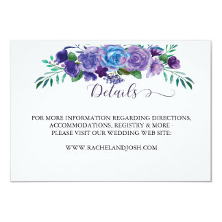 Purple and Blue Floral Details Card