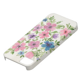 Purple and blue floral garden phone case
