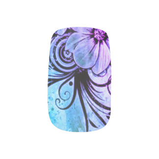 Purple and Blue Floral Minx Nail Art