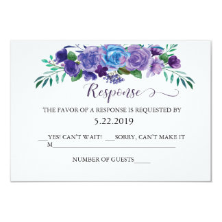 Purple and Blue Floral RSVP Card