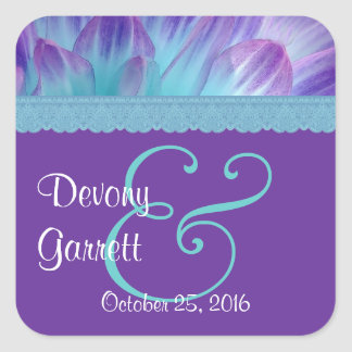 Purple and Blue Flower Petals and Lace Wedding V08 Square Sticker
