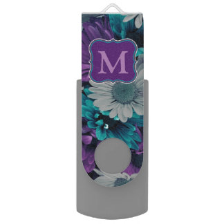 Purple and Blue Flower Smash USB Flash Drive