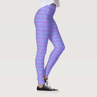 Purple and Blue Geometric Leggings