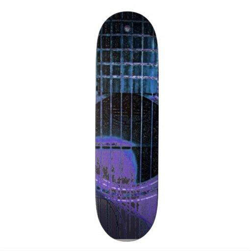 Purple and Blue Guitar Design Skateboard
