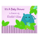 Purple and Blue Hippo Baby Shower Invitation