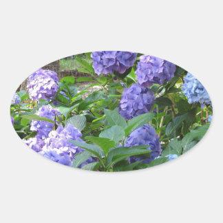Purple and blue Hydrangea flowers Oval Sticker