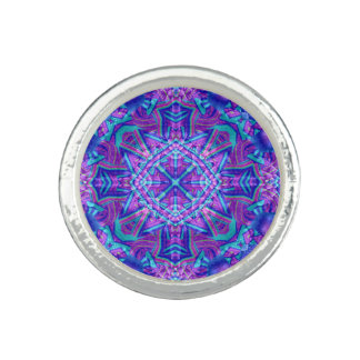 Purple And Blue Kaleidoscope  Custom Rings