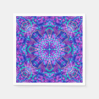 Purple And Blue Kaleidoscope    Paper Napkins