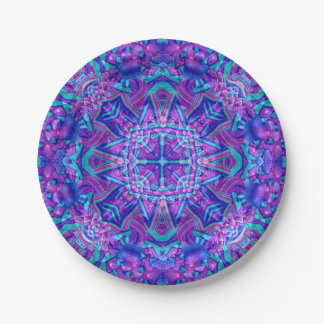 Purple And Blue Kaleidoscope      Porcelain Plates