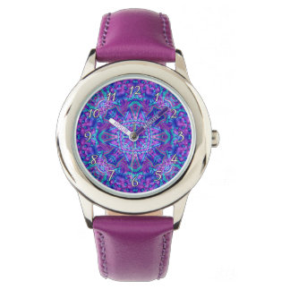 Purple And Blue Kaleidoscope  Vintage Kids Watch