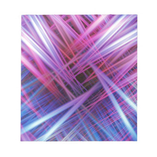Purple and blue light beams pattern notepad