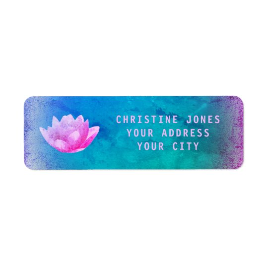 purple and blue lotus flower return address label