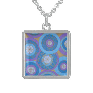 Purple and Blue mandalas Sterling Silver Necklace