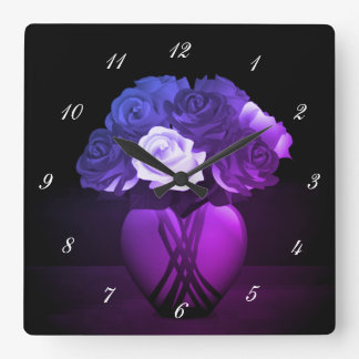 Purple and Blue Ombre Flowers in Heart Vase Clock