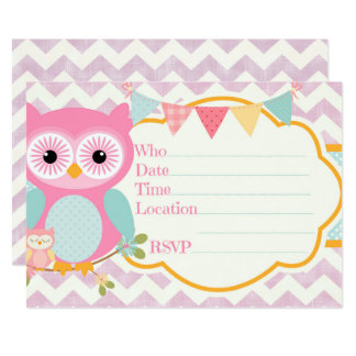 Purple and Blue Owl Chevron Birthday Party Invitat Card