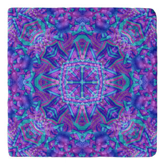 Purple And Blue Pattern   Custom Stone Trivets