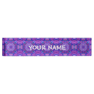 Purple And Blue Pattern  Desk Nameplate