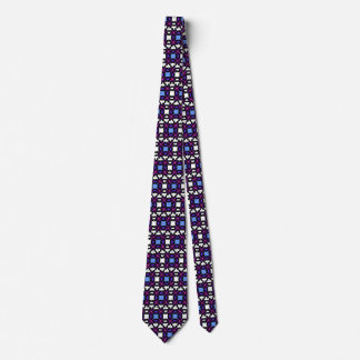 Purple and blue patterned checkered tie