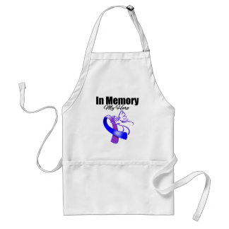 Purple and Blue Ribbon In Memory of My Hero Standard Apron