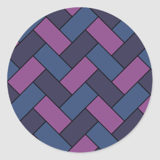Purple And Blue Rope Weave Round Sticker