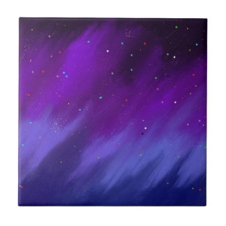 Purple and blue space mist. tile