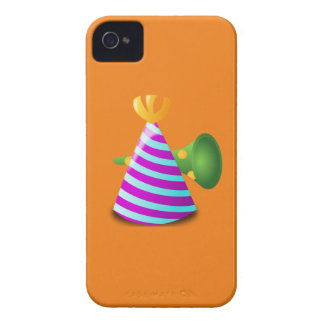 Purple and Blue Striped Party Hat and Green Horn iPhone 4 Case