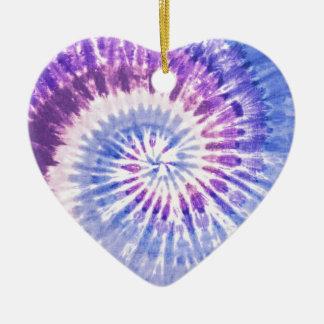 Purple and Blue Tie Dye Pattern Ceramic Heart Decoration
