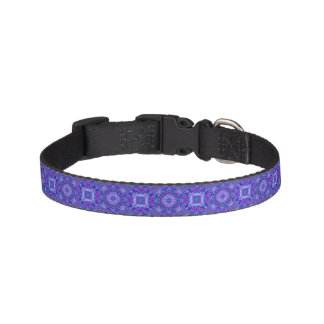 Purple And Blue Tiled Dog Collars, 3 sizes Pet Collars