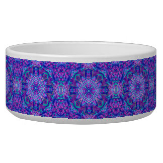 Purple And Blue  Vintage Kaleidoscope Pet Dish Pet Food Bowl