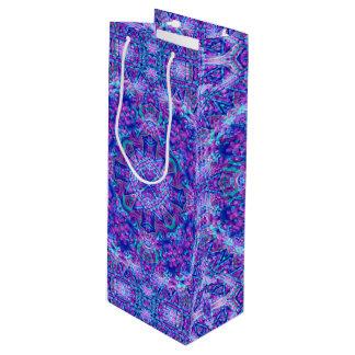 Purple And Blue Vintage Kaleidoscope   Wine Bags