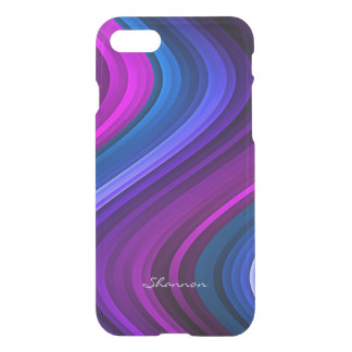 Purple and Blue Waves Clear iPhone 7 case