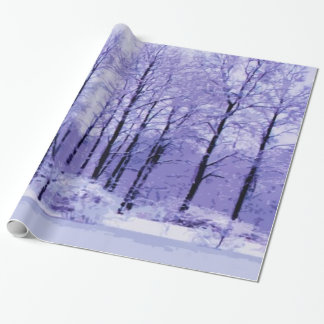 Purple and Blue Winter Pond Wrapping Paper