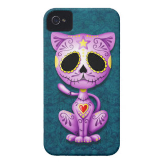 Purple and Blue Zombie Sugar Kitten iPhone 4 Cases