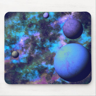 Purple And Blues Alien Space Scene Mouse Pad