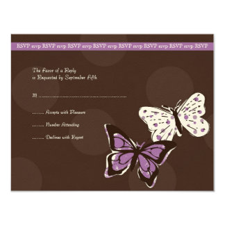 Purple and Brown Cool Butterfly Wedding RSVP 11 Cm X 14 Cm Invitation Card