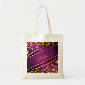 Purple and chic gold colored classic decor name