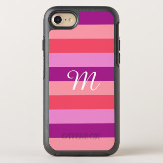 Purple and Coral Striped Monogram OtterBox Symmetry iPhone 8/7 Case