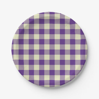 Purple and Cream Gingham Pattern Paper Plate