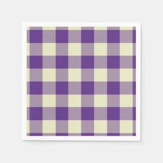 Purple and Cream Gingham Pattern Paper Serviettes