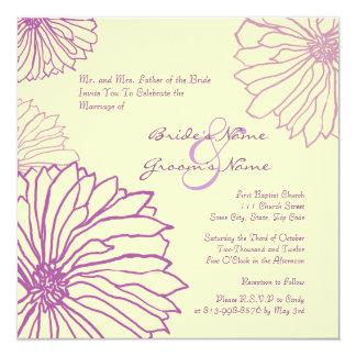 Purple and Cream Mum Flowers Wedding Invitation