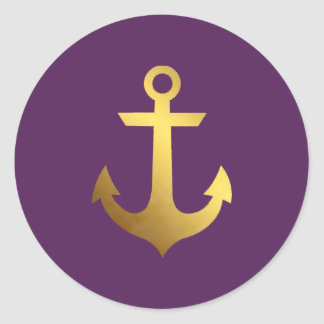 Purple and Faux Gold Foil Anchor Round Sticker