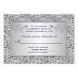 Purple and FAUX Silver Foil Floral RSVP Card II 9 Cm X 13 Cm Invitation Card